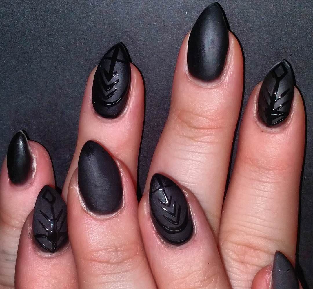 Black Tribal Nail Art