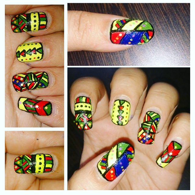 Colorful Tribal Nail Design