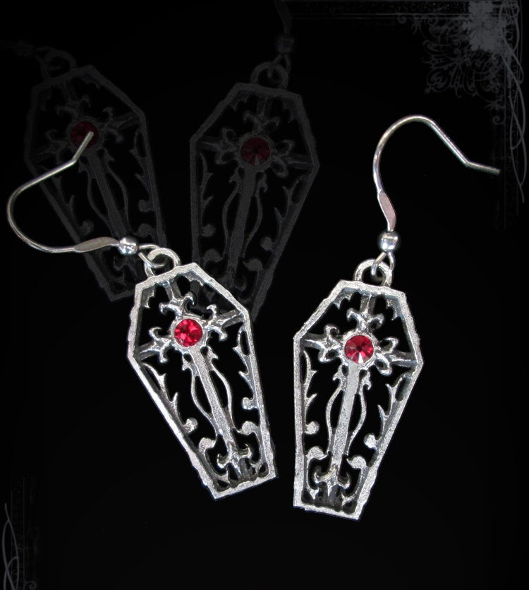 Creepy Coffin Earrings Morbid Jewelry