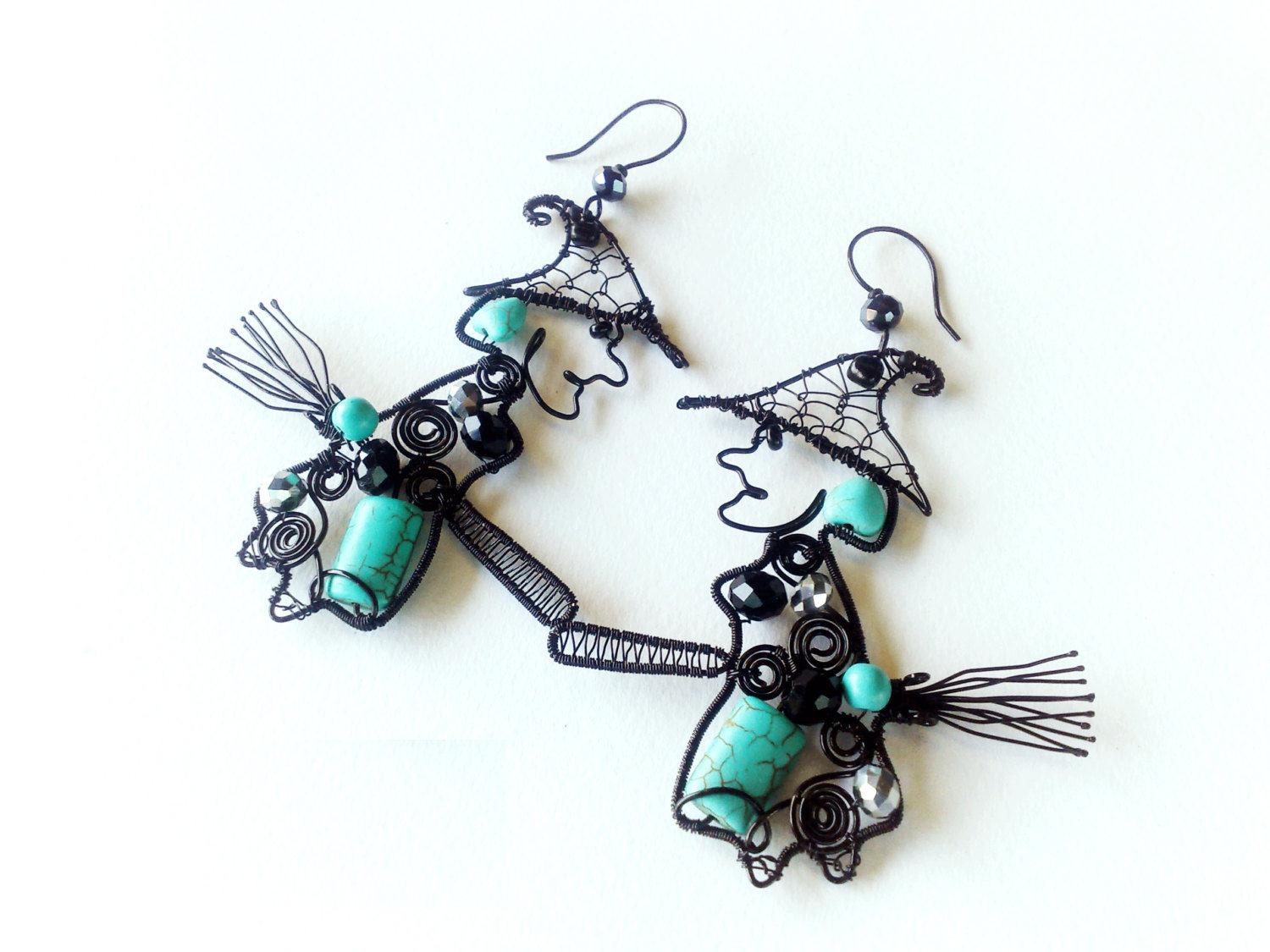 Creative Two Pair Witches Earrings Morbid Jewelry