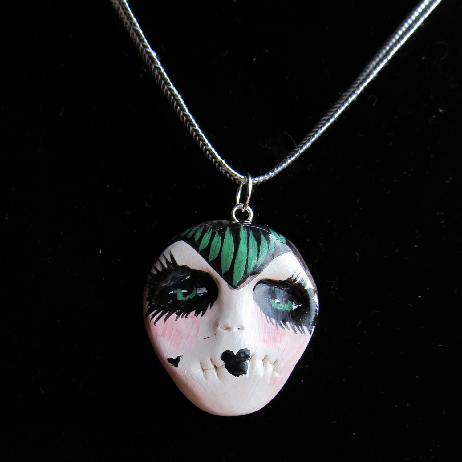 Odd Face Necklace Morbid Jewelry.