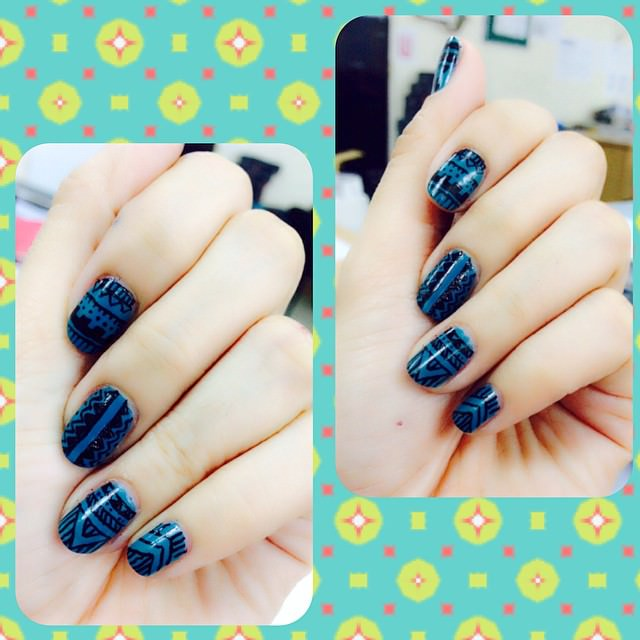 Blue Tribal Nail Art