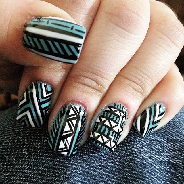 Tribal Lines Nail Design