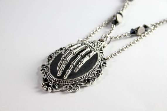 Black and Sliver Hand Of Death Necklace Morbid Jewelry.jpg