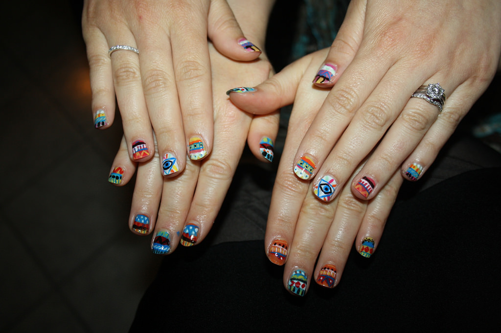 Tribal Nail Art with Colorful Colors