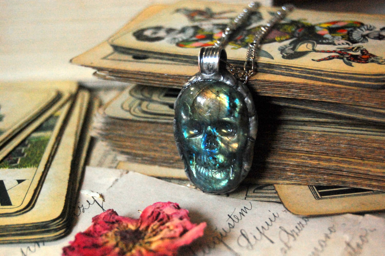 Metallic Skull Necklace Morbid Jewelry