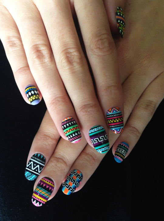 Nice and Classy Tribal Nail Design