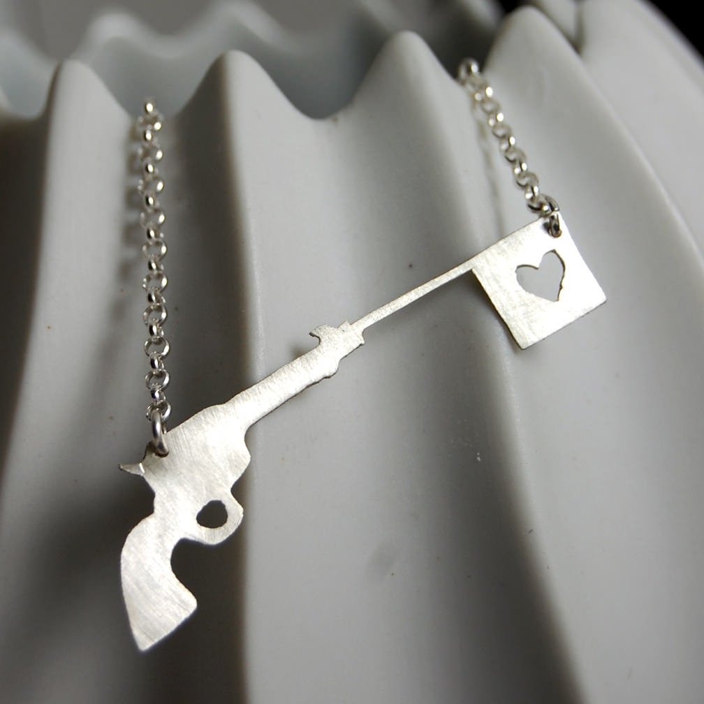 Horrifying Love is war Gun Morbid Jewelry
