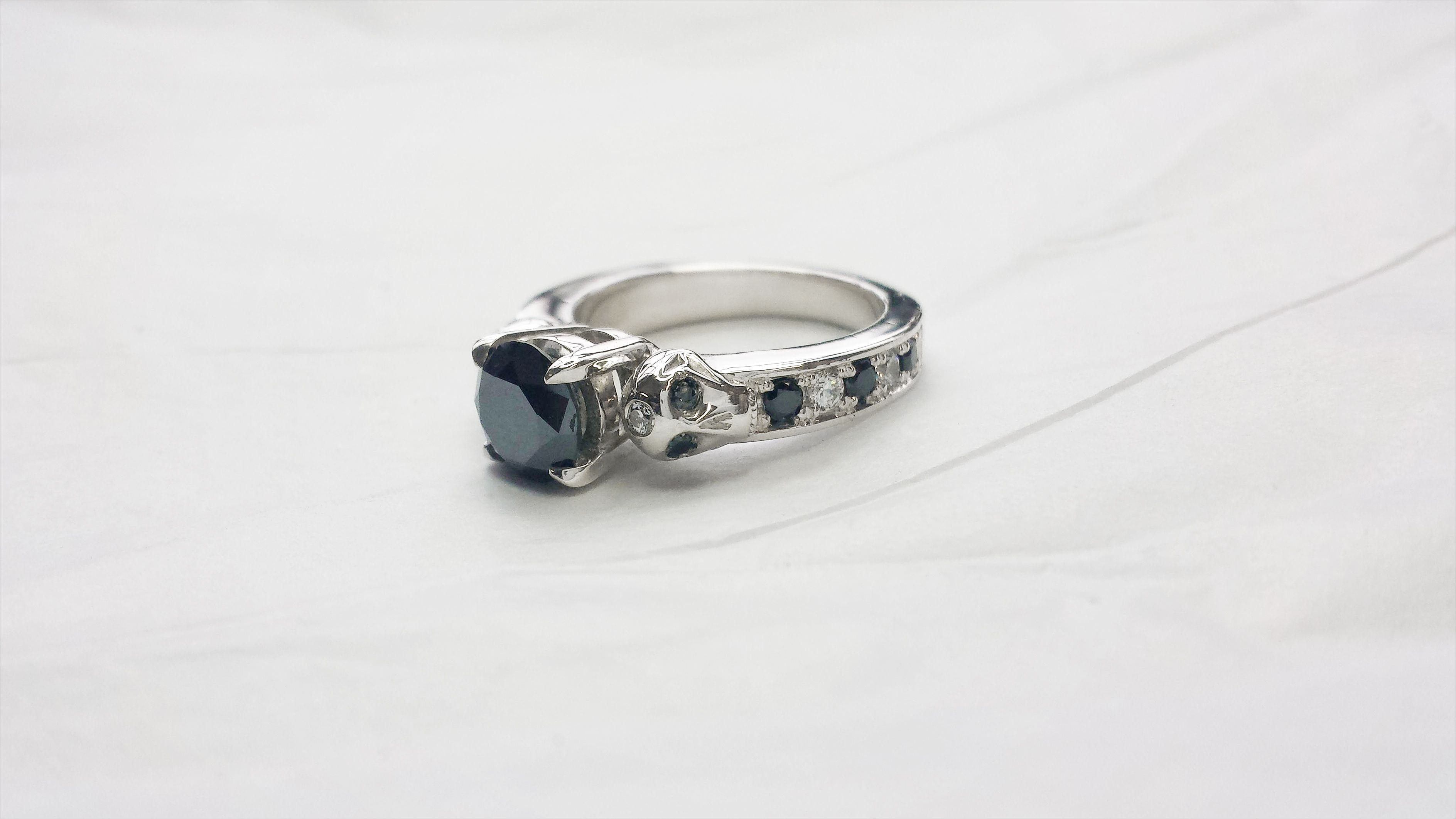 black white diamond wedding ring