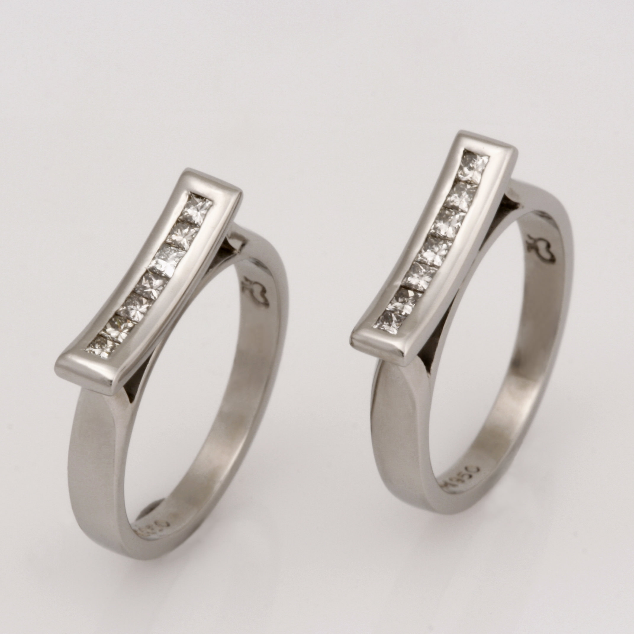 palladium split wedding rings