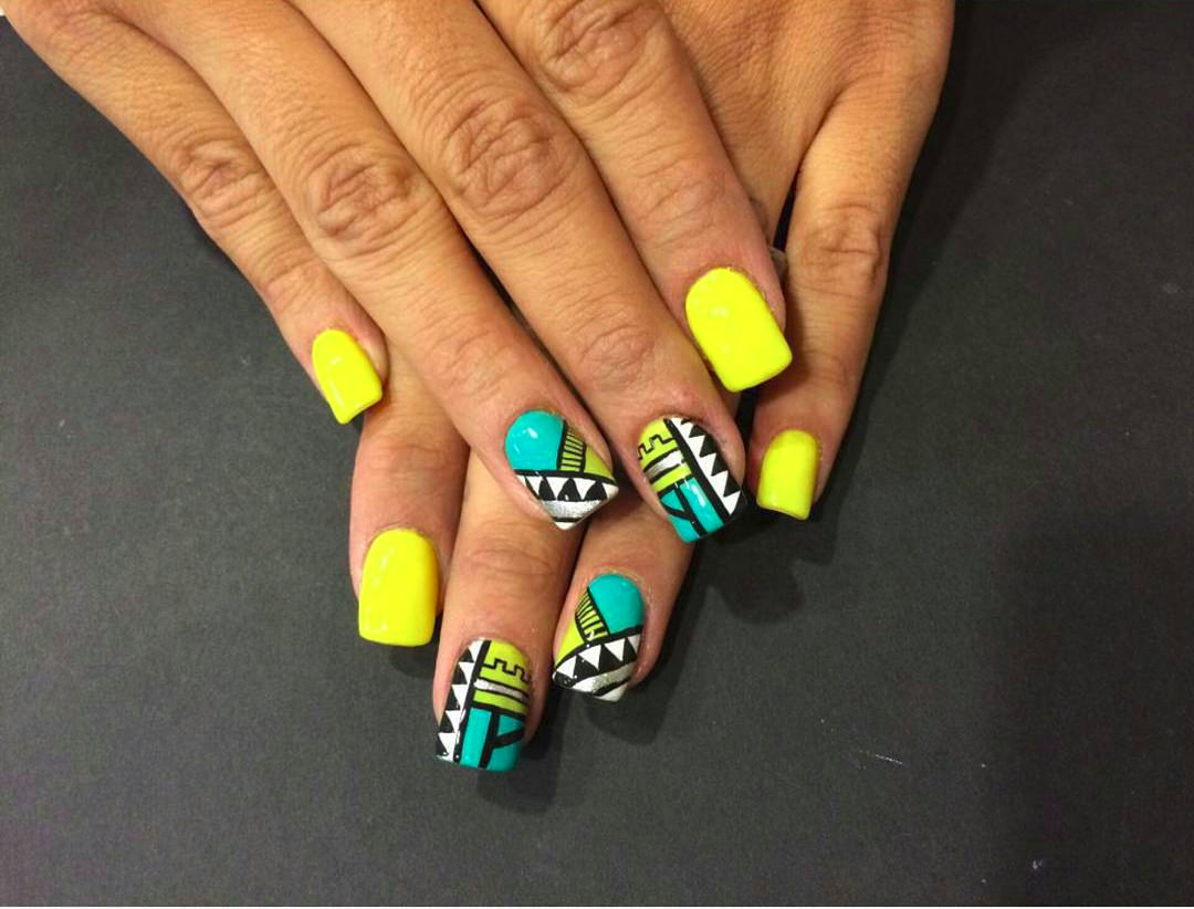Yellow Nail Tribal Design