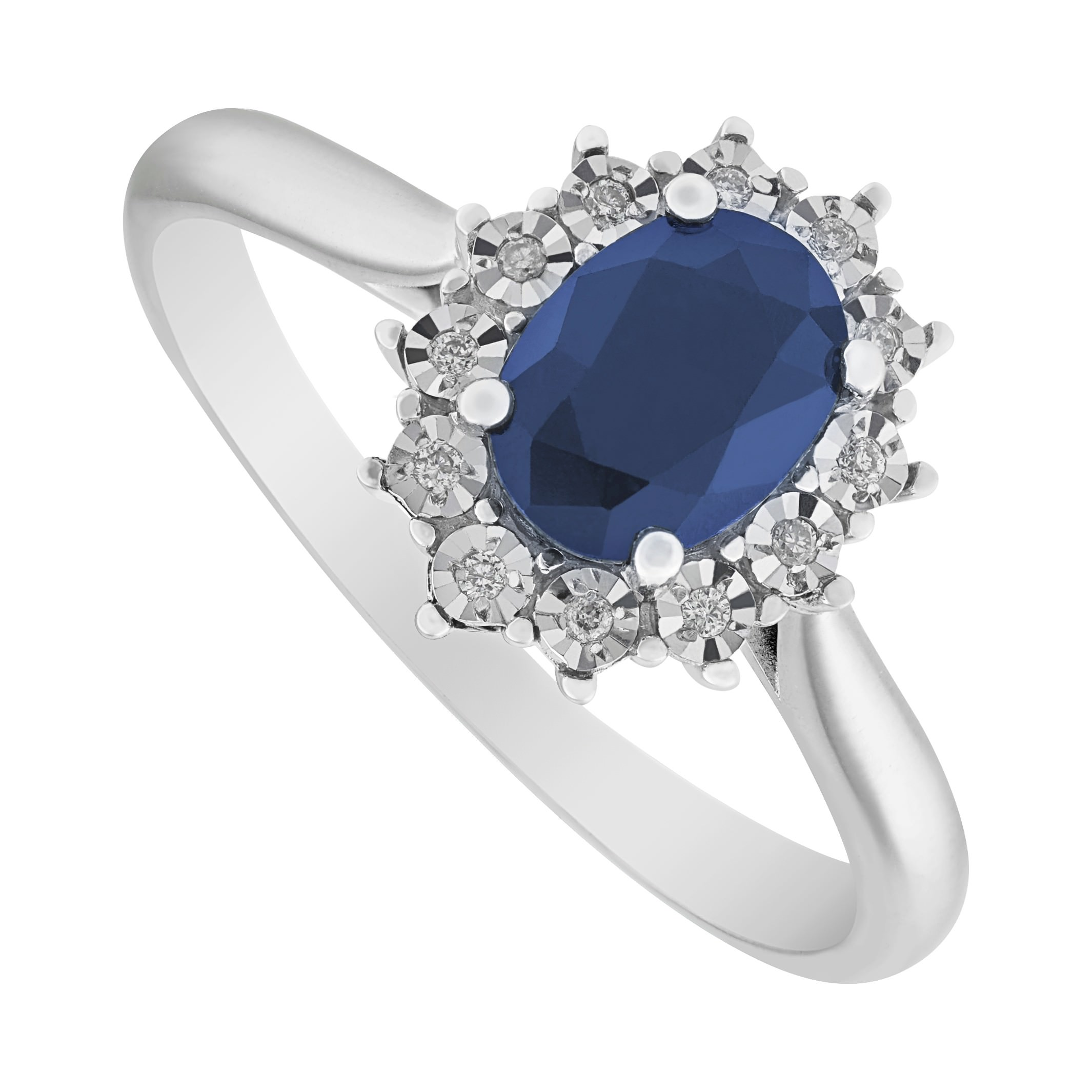 Whit Gold Sapphire and Diamond Oval Cluster Ring