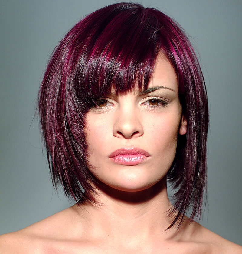 dark purple bangs medium bob hairstyle