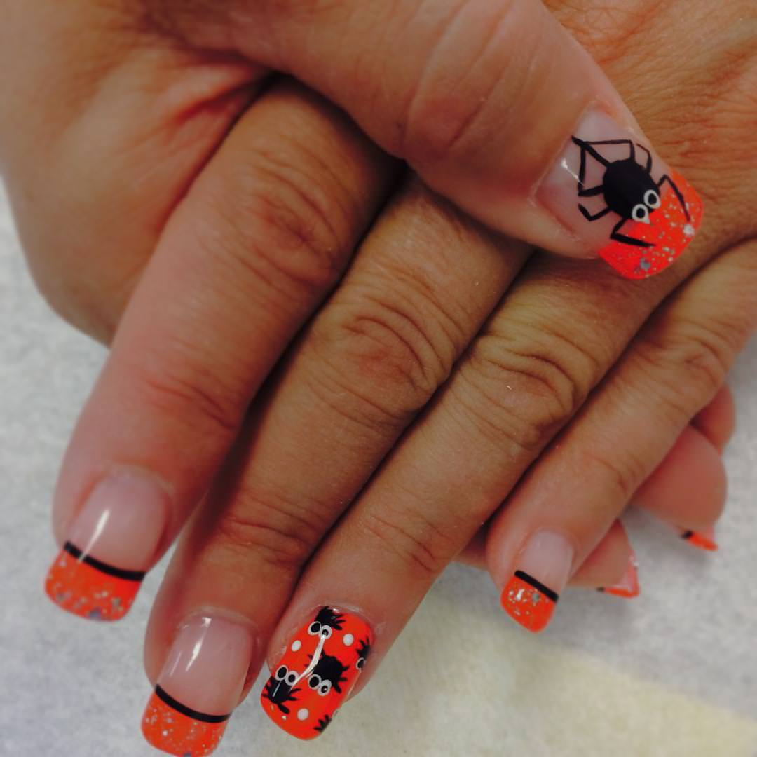 Orange Color French Nail Design