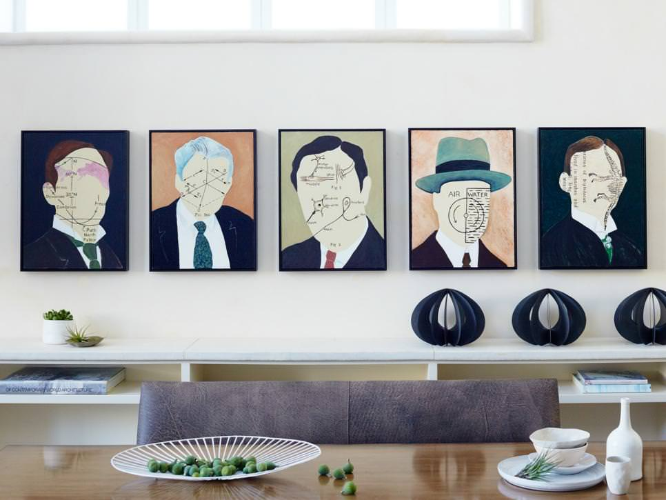 art steals show in white walled dining room
