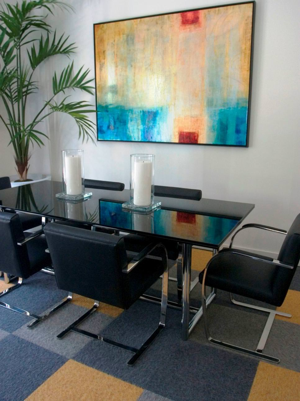 contemporary breakfast nook with abstract wall art