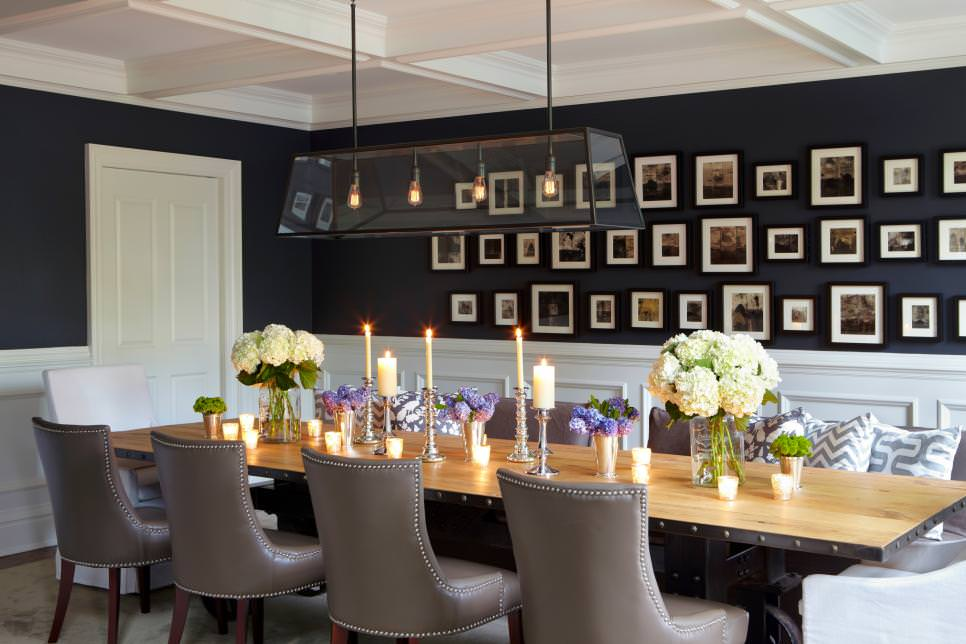 29 wall decor designs ideas for dining room design for Black dining room walls