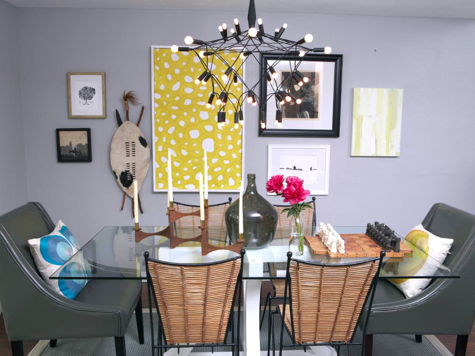 Eclectic Dining Room With Gallery Wall Decor