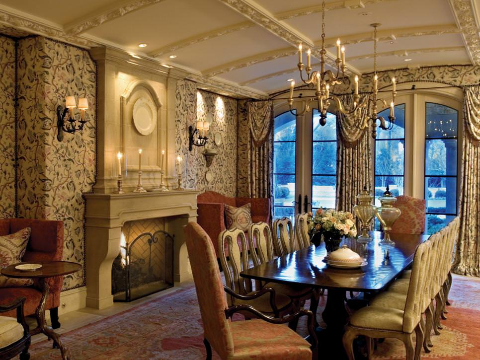 lavish dining area with designed flora walls