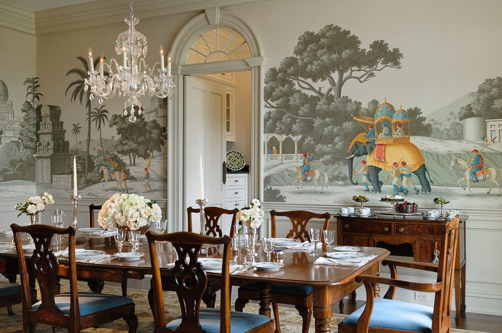 victorian dining room with complete wall art