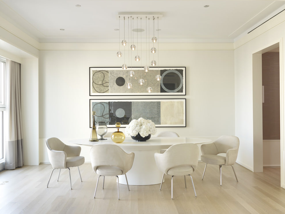 29 wall decor designs ideas for dining room design for Modern white dining room chairs