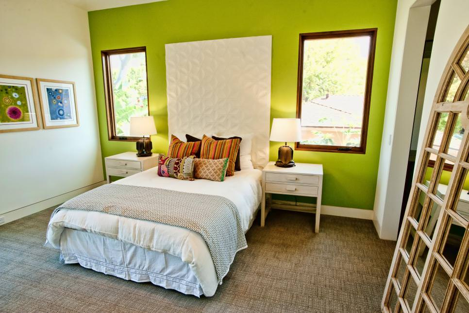 Green Accent Wall Energizes Bedroom
