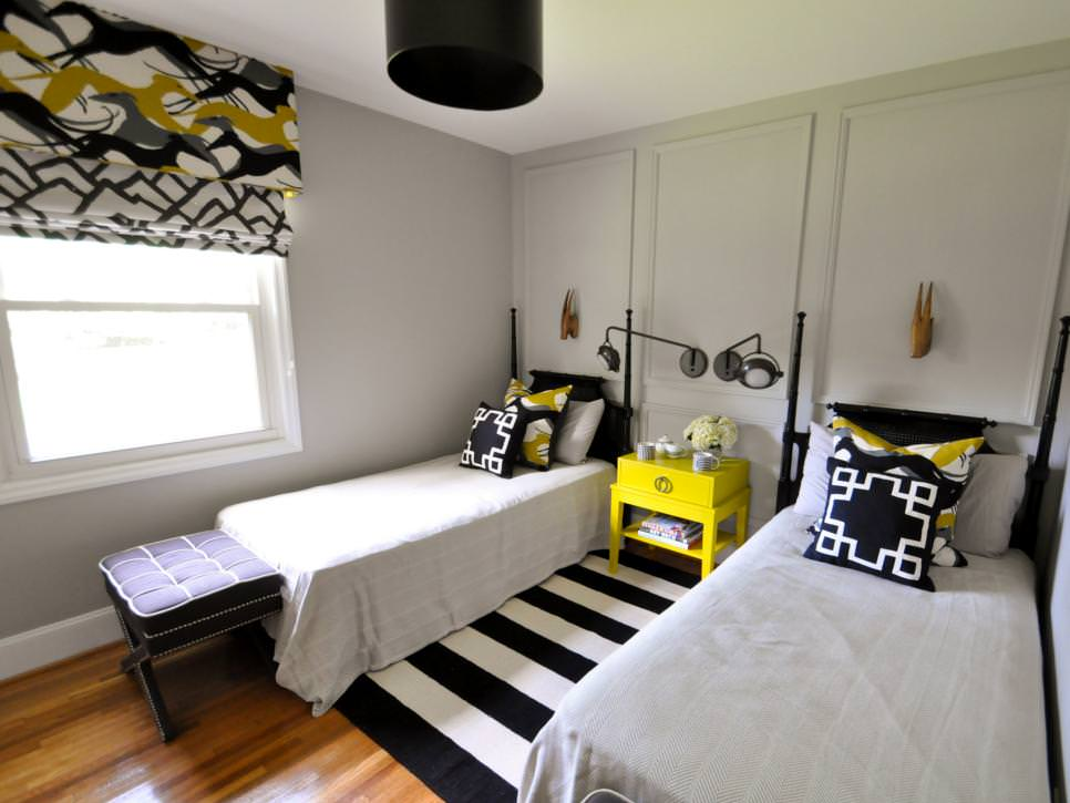 Guest Room With White and Yellow Accents
