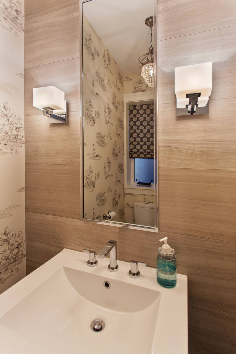 Powder Room With Woodgrain Accent Wall