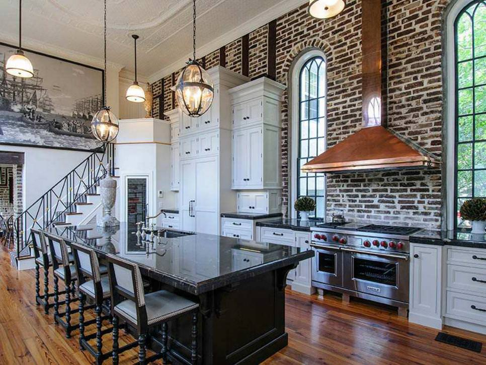 White Traditional Kitchen With Exposed Brick Wall accent