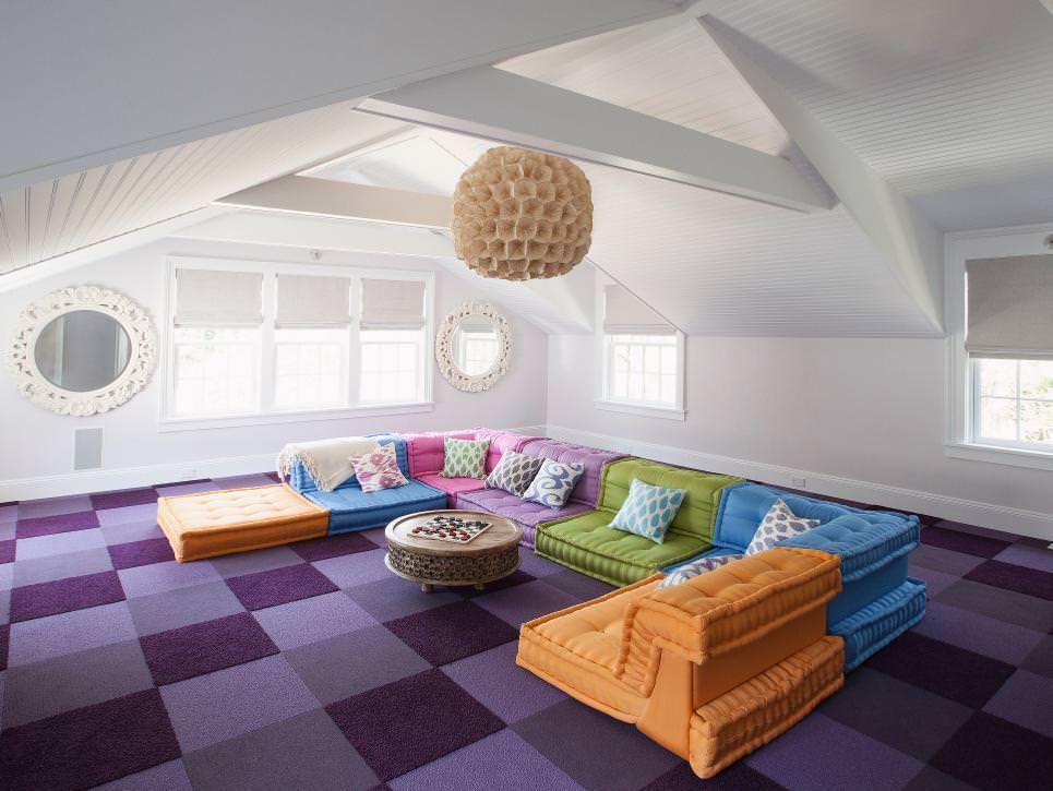 Colorful Fun Attic Media Room picture