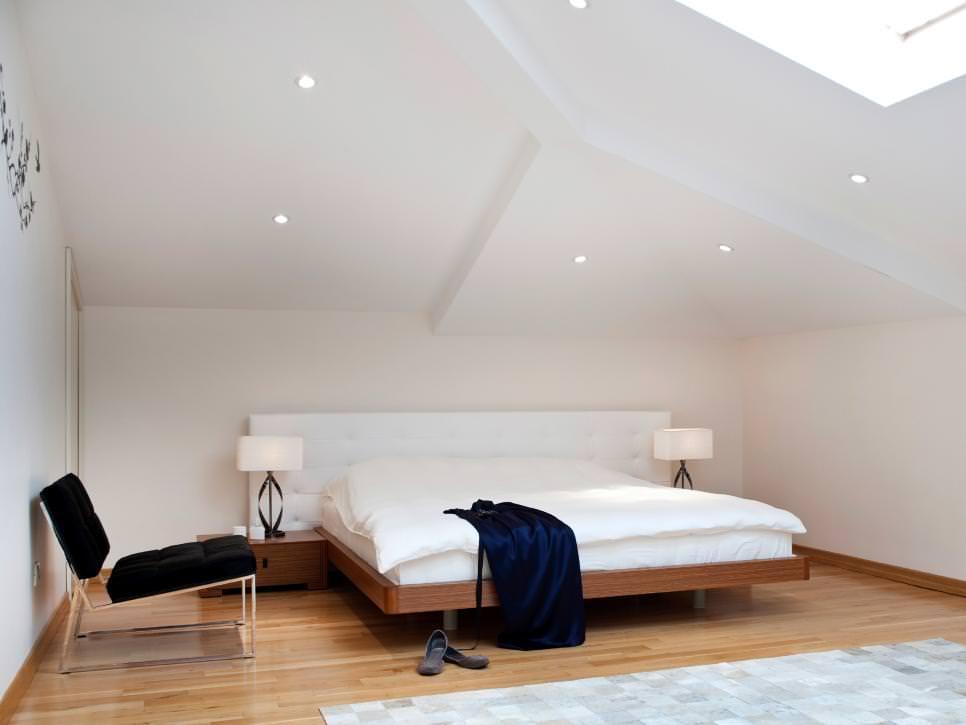Modern Attic Bedroom With Platform Bed