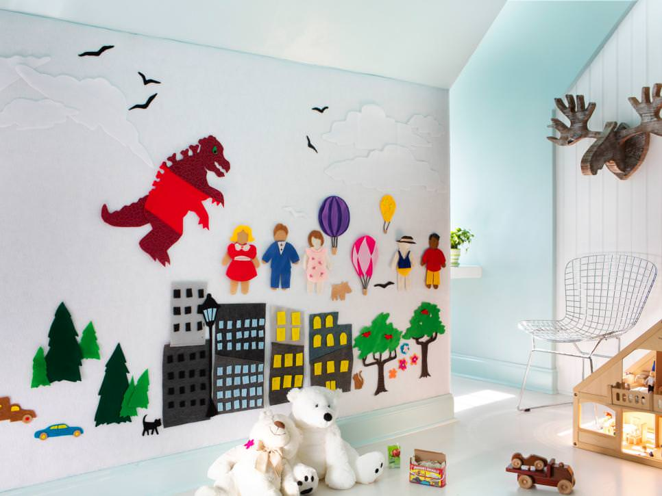 remodeled attic with colorful felt wall