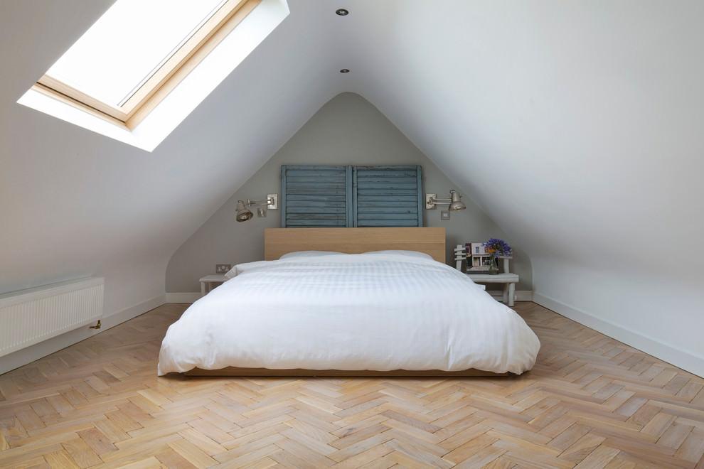 Transitional bedroom in attic idea