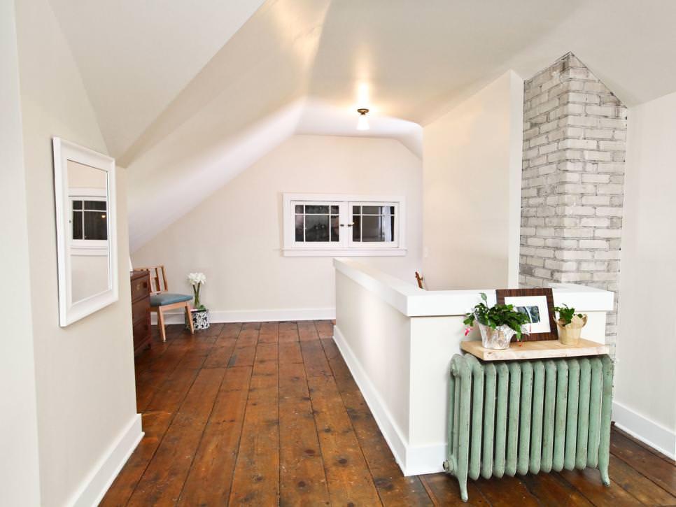 White Shabby Chic Attic Loft with White Brick Wall