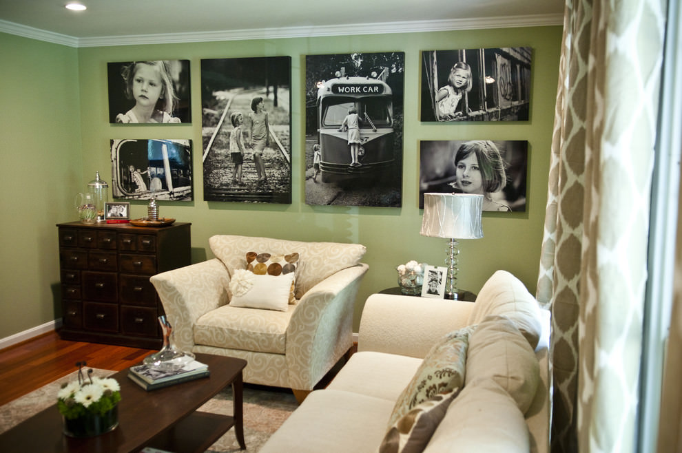 Cool living room with ravishing green blank walls