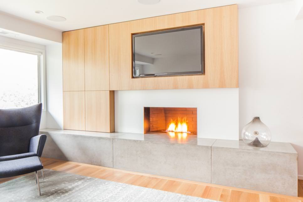Custom Oak Media blank Wall With Fireplace