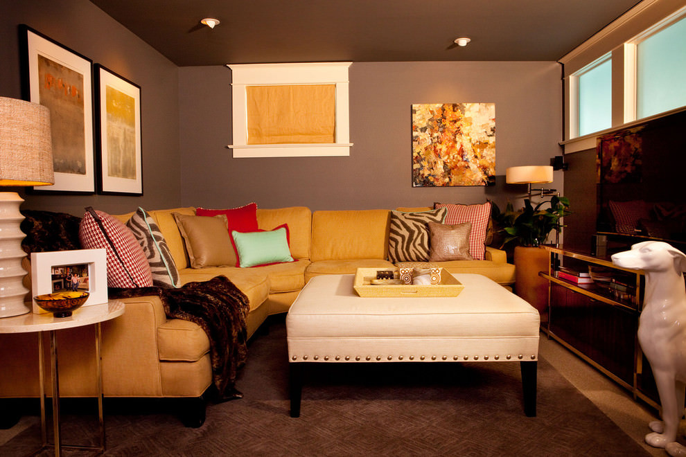 Eclectic basement eleagnt blank wall design