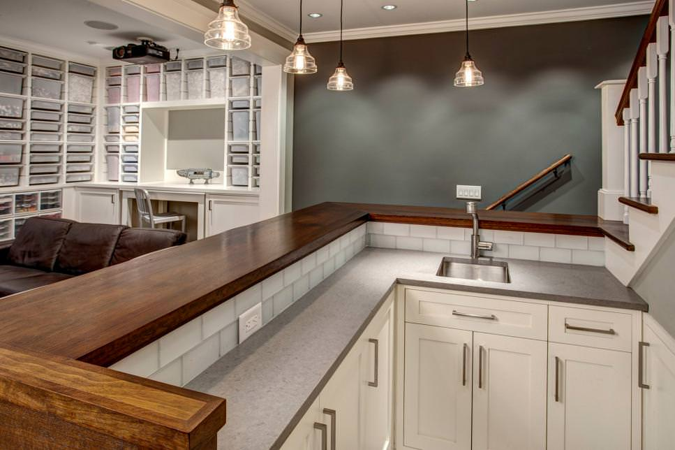 Gray Basement Bar With gray blank wall
