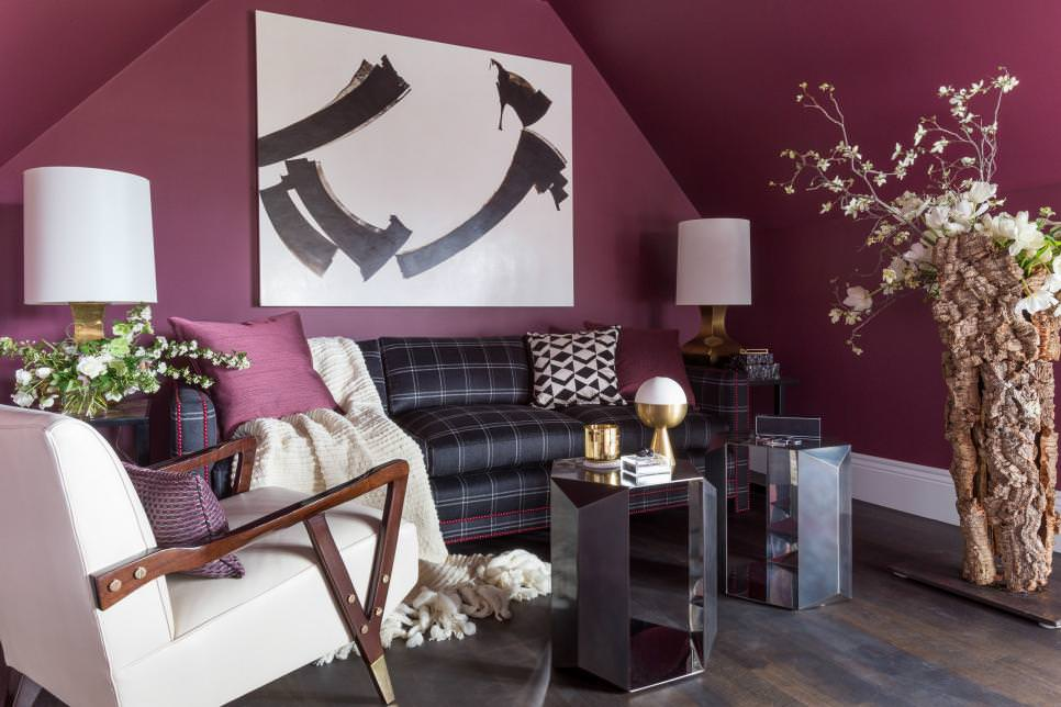Wine Tones Adorn Walls with blank space