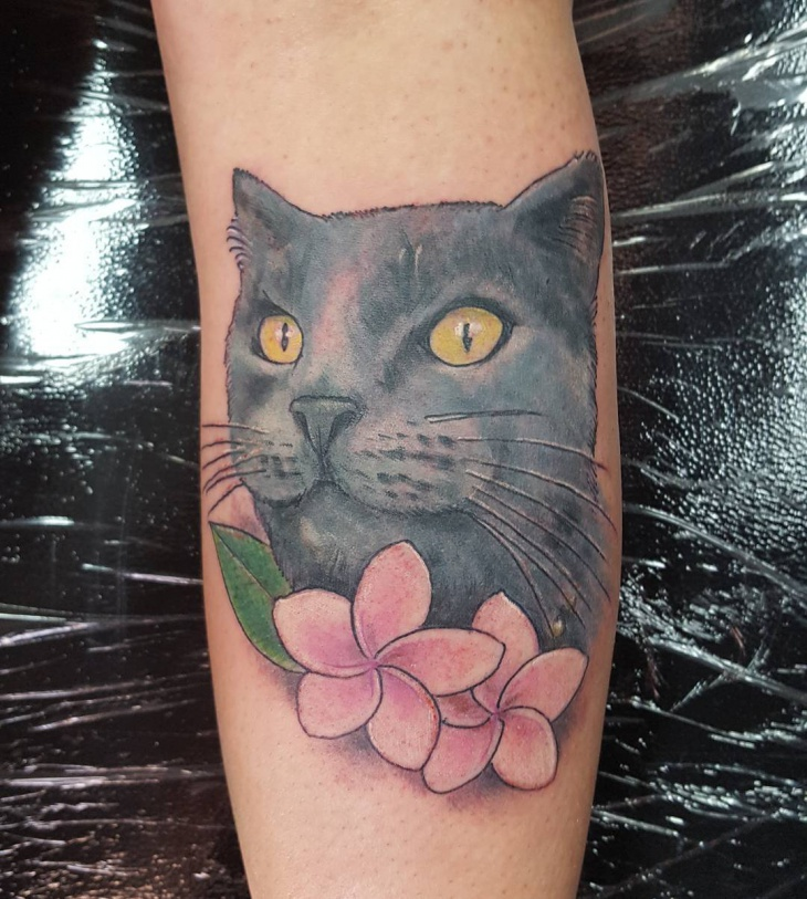 Neo Traditional Cat Tattoo Design