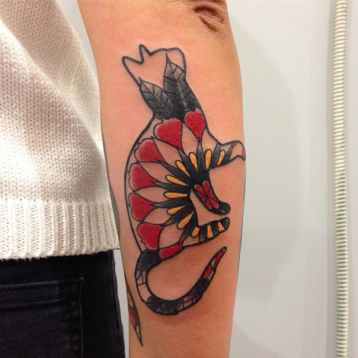 Awesome Cat Tattoo Design