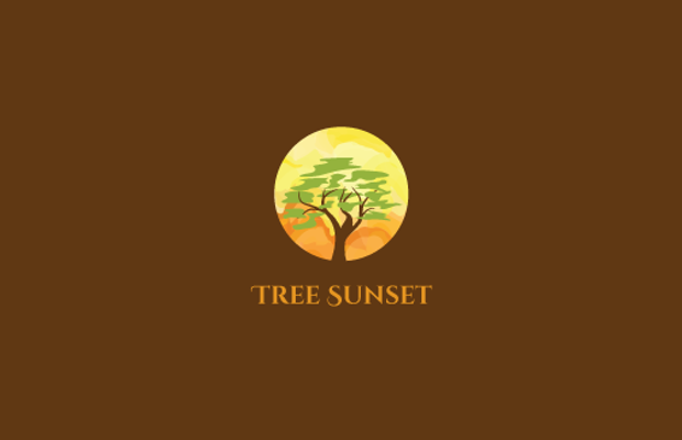 tree sunset logo design