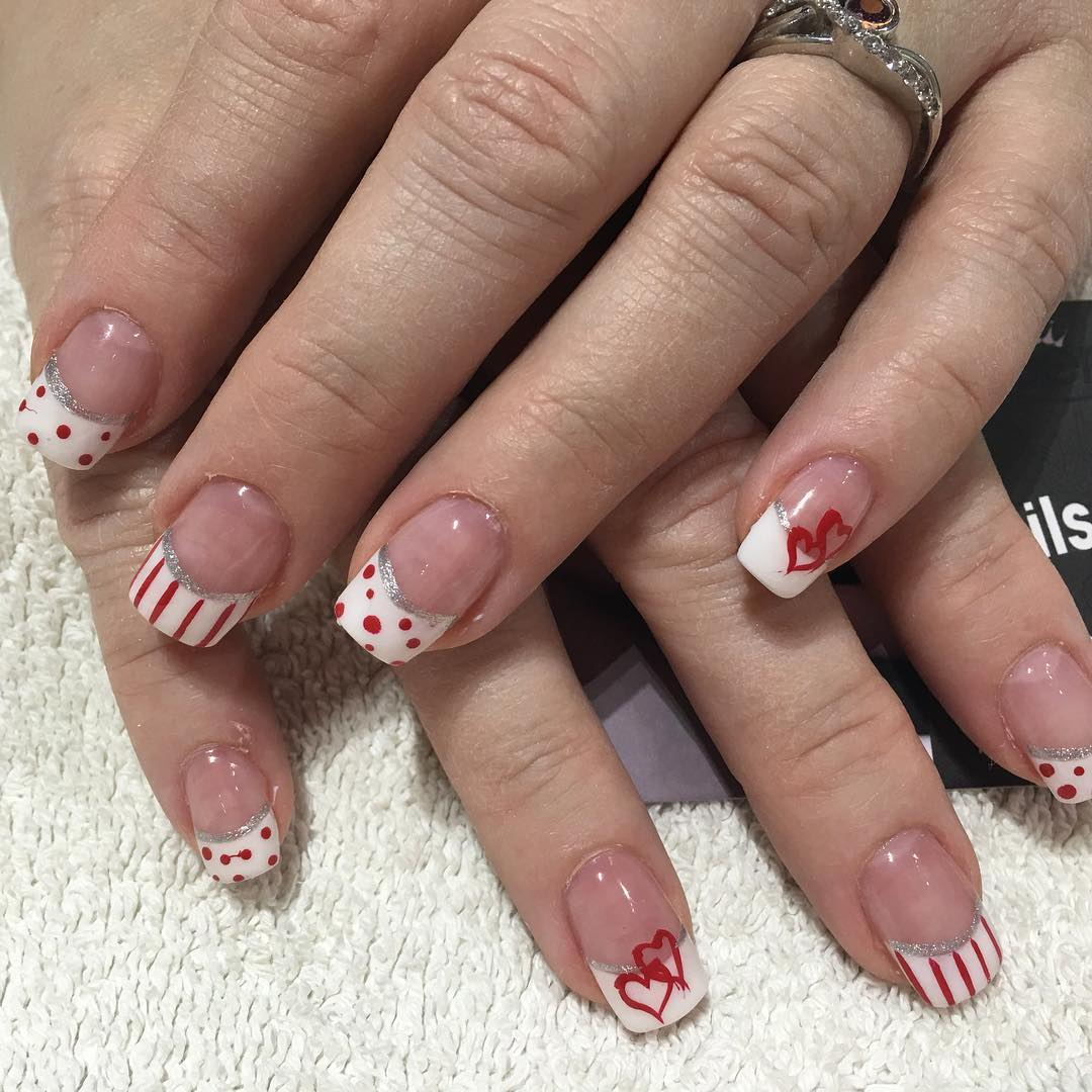 red art on white tip nails