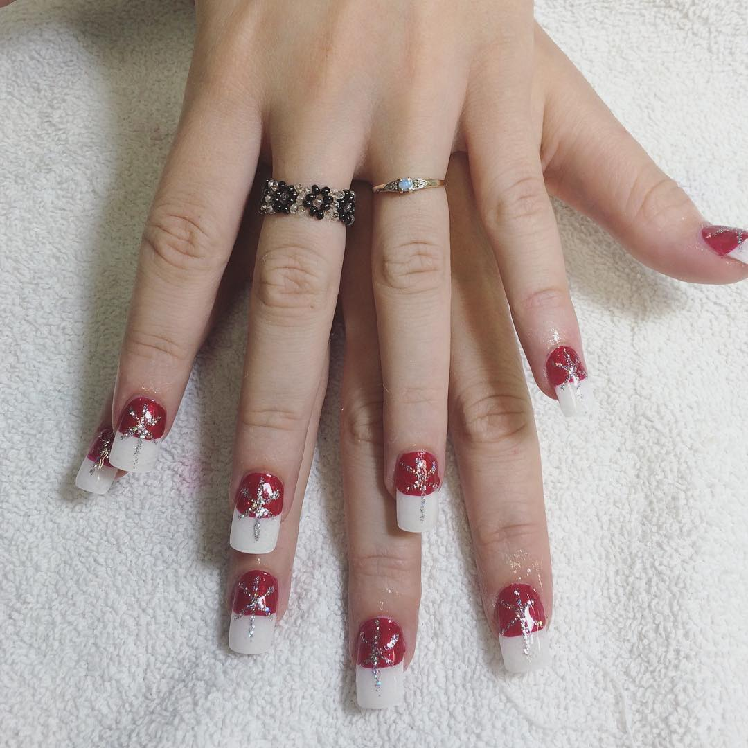Red Nail White Tip Design - 20+ White Tip Nail Art Designs, Ideas Design Trends - Premium