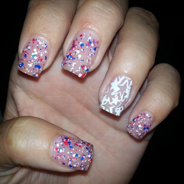 Glitter Patriotic Nail Art