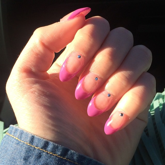 Pink Pointy Nail Design