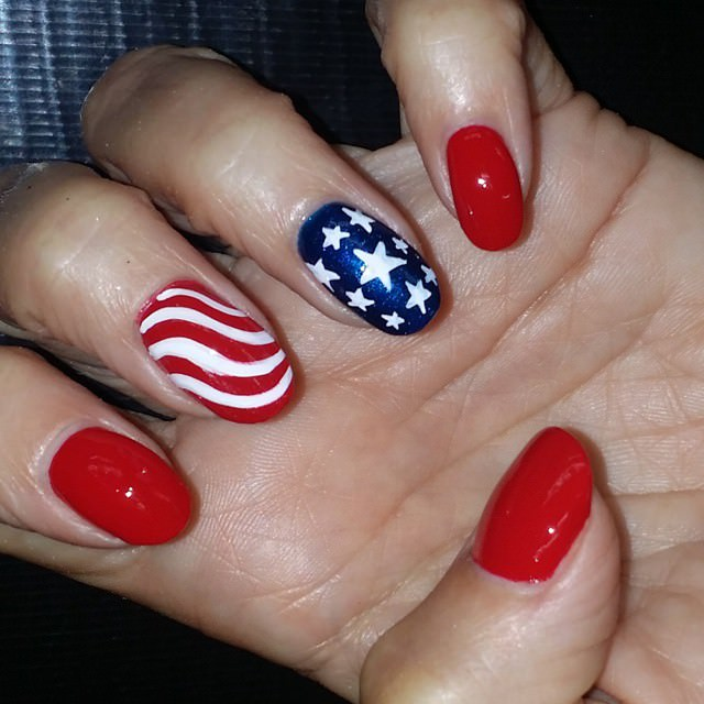 Red and Blue Patriotic Nail Art