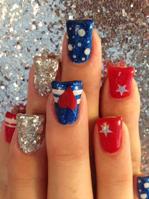 Glitter and Red Patriotic Nail Design