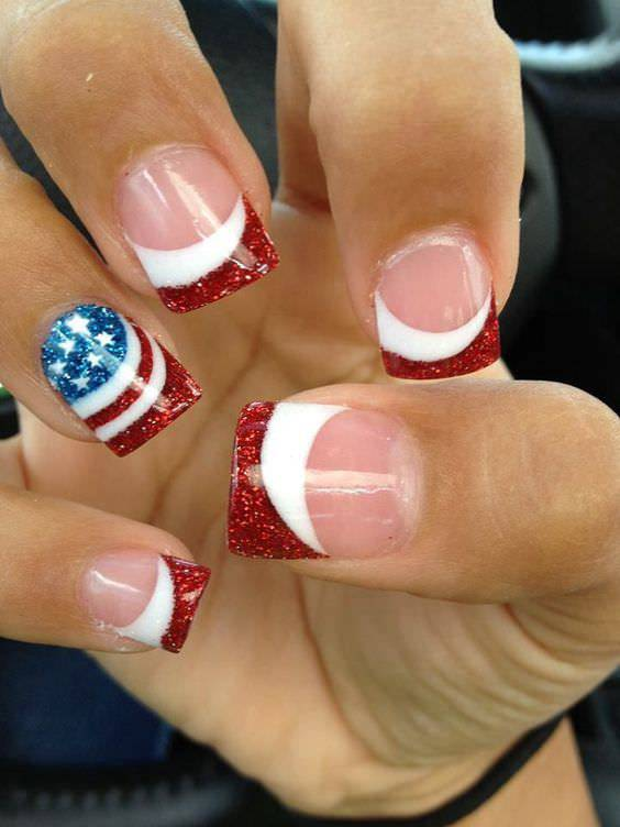 Patriotic Nail Art with Glitter