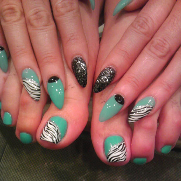 Colorful Pointy Nail Design